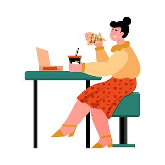 Счастливая девушка ест пиццу в кафе мультипликационная женщина с едой и напитками