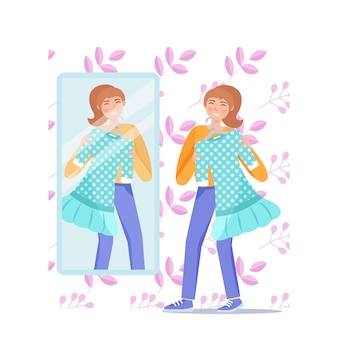 Happy girl in front of the mirror tries on green dress. vector illustration