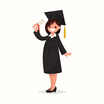 Happy girl graduate of the university in black gown on a white background illustration