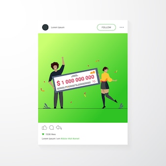 Happy girl and guy winning billion of cash, getting money prize, holding bank check. flat vector illustration for grant, lottery winner, jackpot concept