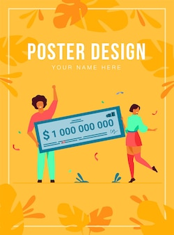Happy girl and guy winning billion of cash, getting money prize, holding bank check poster template