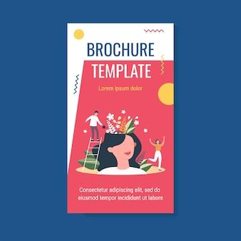 훌륭한 정신 건강과 긍정적 인 분위기를 가진 행복한 소녀 브로셔 템플릿