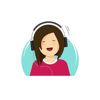 Happy girl in headphones listening music and smiling vector illustration in flat cartoon