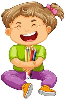 色鉛筆を持つ幸せな女の子