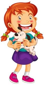 Счастливая девочка держит щенка