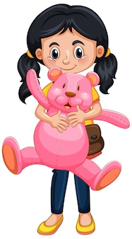Happy girl holding teddy bear