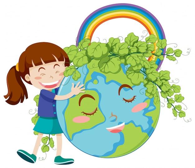 Happy girl hugging big earth on white