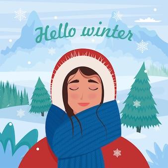 冬の山で幸せな女の子フラットスタイルのかわいいベクトルイラスト