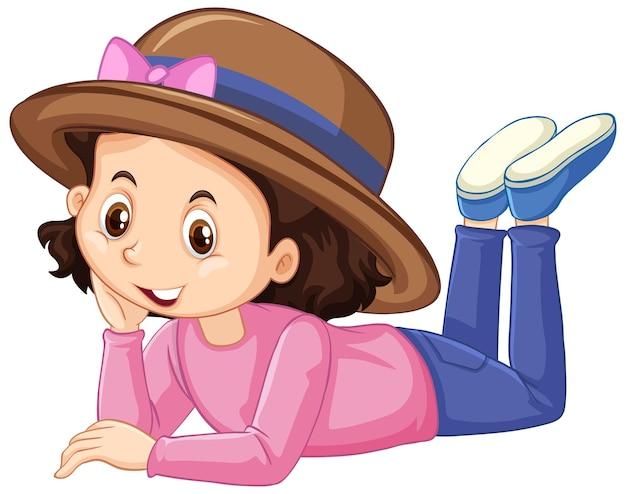 白い背景の上のピンクのシャツの幸せな女の子
