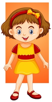 Счастливая девушка в желтом платье