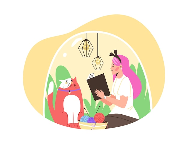 Happy girl introvert sitting under transparent dome with cat and reading book