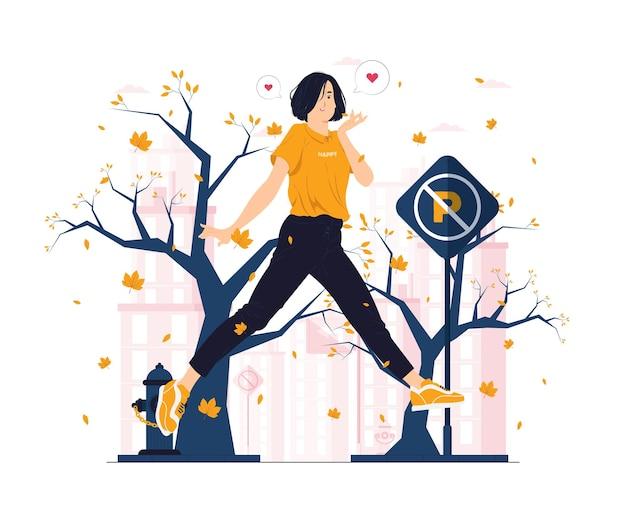 가을 날 개념 그림에서 점프하고 낙엽을 잡는 행복한 소녀