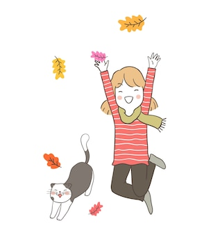 Happy girl jumping in leave falling with cute cute