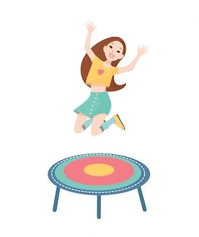 Счастливая девушка прыгает на батуте.