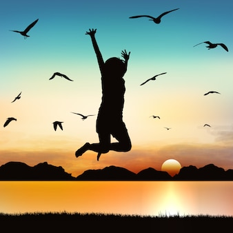 Happy girl jumping, on silhouette art.