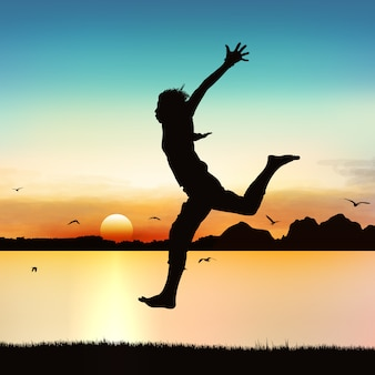Happy girl jumping on silhouette art.
