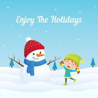 Happy girl kid jump playing with cute snowman in winter season background