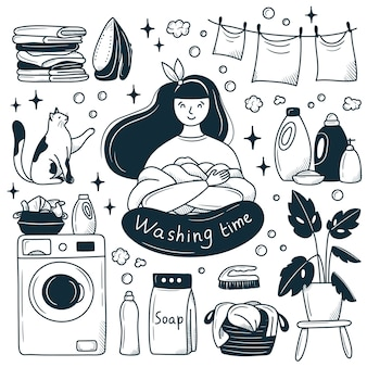 Happy girl in the laundry. cartoon doodle style drawn by hand. black and white illustration