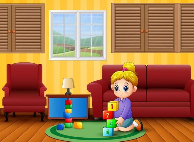 Счастливая девушка учиться и играть в комнате Premium векторы