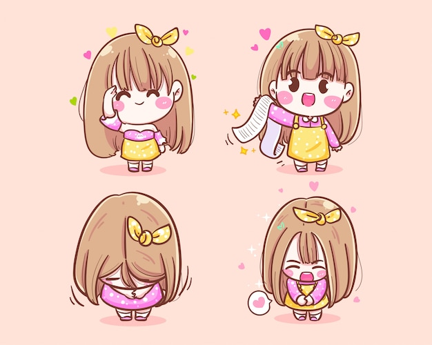 행복 소녀 상인 귀여운 미소 감사합니다 아이콘 로고 손으로 그린 그림입니다.