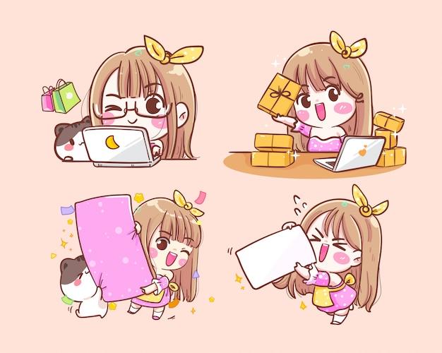 상품 상자와 고양이 아이콘 로고와 함께 귀여운 행복 소녀 상인 손으로 그린 그림.