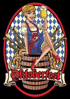 Happy girl of oktoberfest sittinh on the barrel