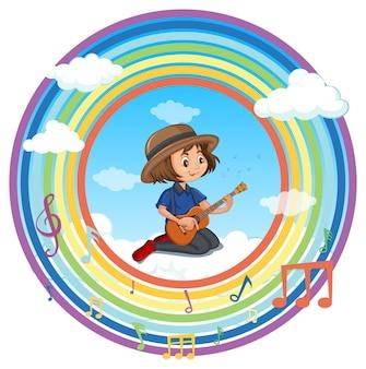 멜로디 기호가 있는 레인보우 라운드 프레임에서 기타를 연주하는 행복한 소녀