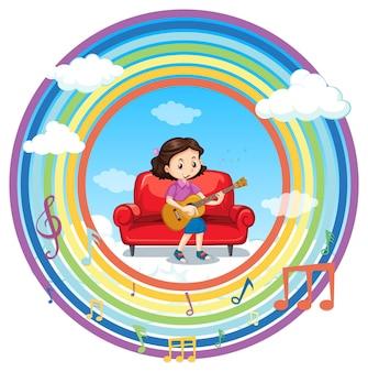メロディーのシンボルと虹のラウンドフレームでギターを弾く幸せな女の子