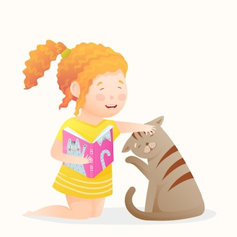 Happy girl playing reading book to her cat, cute little kid and kitten friends having good time together. funny laughing child and cat characters for kids. cartoon drawing in watercolor style.