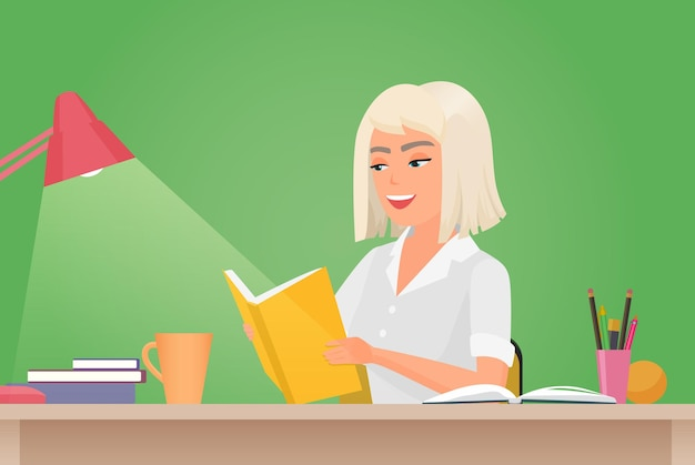 Happy girl reading book young woman student sitting at desk to read literary work story