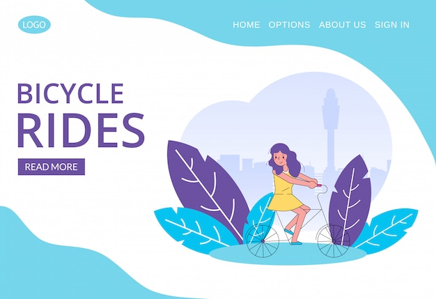 Happy girl riding bicycle line art illustration for web template.