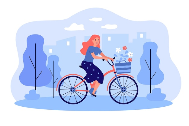 Happy girl riding retro bicycle with bouquet of flowers flat illustration