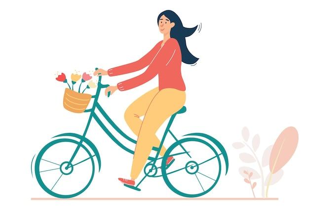 バスケットに花とレトロな自転車に乗って幸せな女の子。ロマンチックなムードのヴィンテージイラスト。アクティブなライフスタイル、女性の自転車ライダーの概念のベクトル図