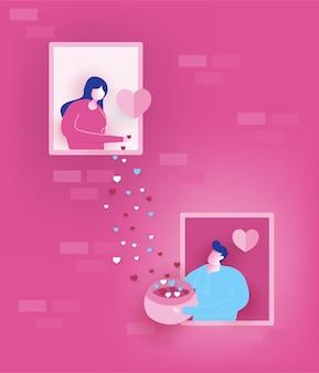 Счастливая девушка разбрасывает сердца от двери к мальчику в любви с концепцией дня святого валентина
