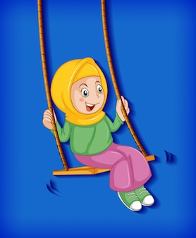 Happy  girl sit on swing