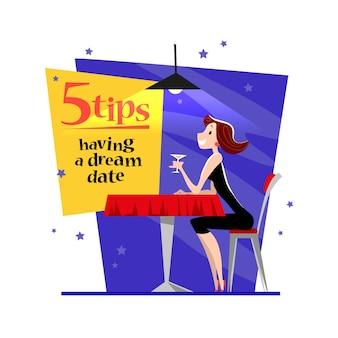 Счастливая девушка сидит за столом в кафе, пьет вино в вечернем ресторане.