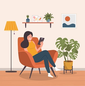 Happy girl sitting on the chair with tablet. vector flat illustration