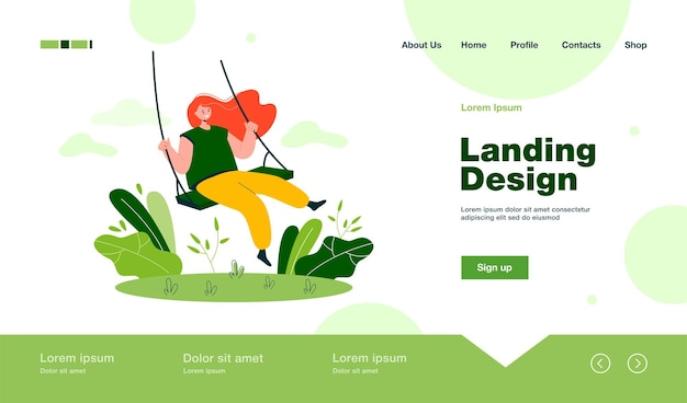 Happy girl and sitting on swing, smiling and swinging landing page in flat style
