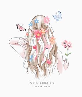 カラフルな花のイラストとブロンドの髪の少女と幸せな女の子のスローガン