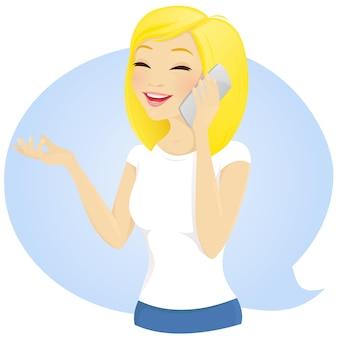 電話で話している幸せな女の子。