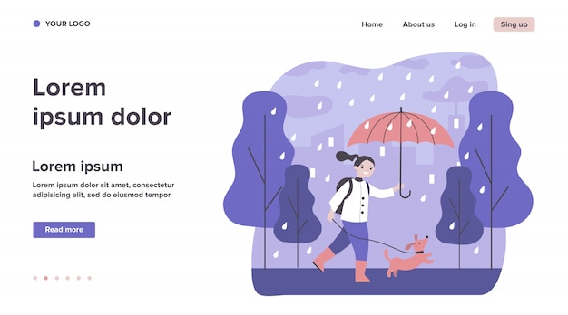 Happy girl walking dog in rain