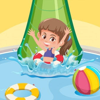 A happy girl at water slide
