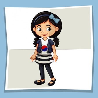 Happy girl wearing shirt with korean flag