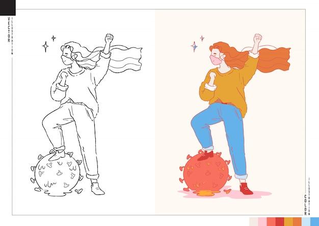 Covid-19から回復した幸せな女の子。アウトラインとカラーバージョンのイラスト。漫画スタイルのアートワーク。