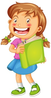 Happy girl with book isolated