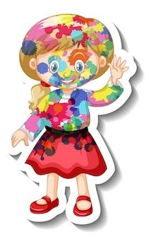 흰색 바탕에 그녀의 몸 스티커에 색으로 행복 한 소녀