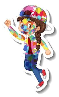 白い背景の上の彼女の体のステッカーに色を持つ幸せな女の子