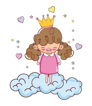 Happy girl with crown in the clouds and hearts