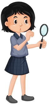 Happy girl with magnifying glass on white