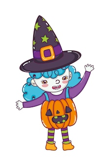 Happy girl with pumpkin costume and witch hat